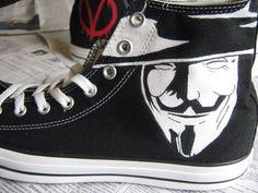 V for Vendetta shoes! V For Vendetta Quotes, V For Vendetta Movie, V Pour Vendetta, Navy Sister, Black N White, Walk On, Get Dressed, Converse Chuck Taylor, High Top Sneakers