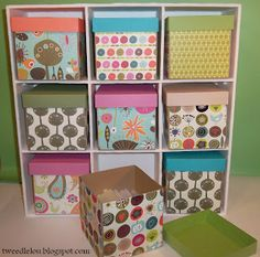 DIY storage cubes - a good idea for my craft room and organizing all of those little things that seem to fall over.  And I could make it as big, or as small, as I want.