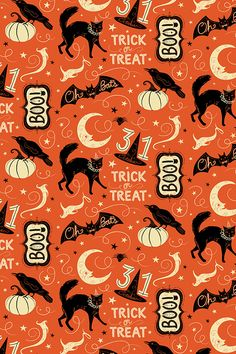 Vintage Halloween Design by johannaparkerdesign - Hand illustrated cats moons witch hats crows pumpkins and trick-or-treat text. Playful vintage halloween design on fabric wallpaper and gift wrap. Halloween Designs, Retro Halloween, Boo Halloween, Theme Halloween, Halloween Patterns, Halloween Trick Or Treat, Halloween Fabric, Halloween Pumpkins, Halloween Prints