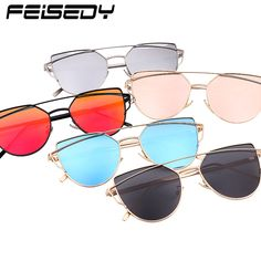 FEISEDY Fashion Polarized Sunglasses Women Brand Designer Vintage Cat Eye Sun Glasses Polarized Mirror Twin-Beams Shades Gafas