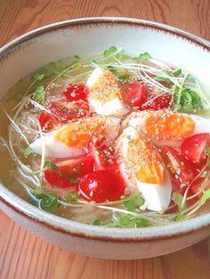 インスタント袋麺で☆冷やしトマトラーメン