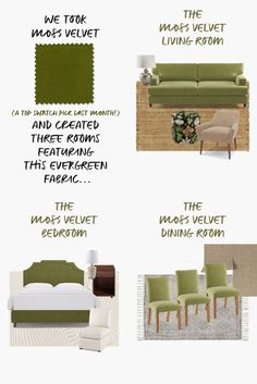 We noticed our customers were loving our Moss Velvet swatches so we went ahead and put together three mood boards - living room, bedroom, and dining room with the green velvet fabric as the star of the room. It's an easy way to bring color into a room but somehow, it still feels like a lux neutral. Velvet Bedroom, Outdoor Furniture Sets, Outdoor Decor, Green Velvet Fabric, Dining Room, Fall Color Palette, Colorful Decor, Mood Boards, Fall Decor