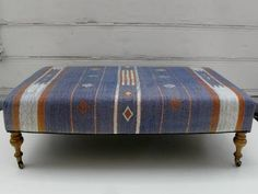 Rectangular Ottoman/Bench Covered in Vintage Rug Turned Legs with Casters