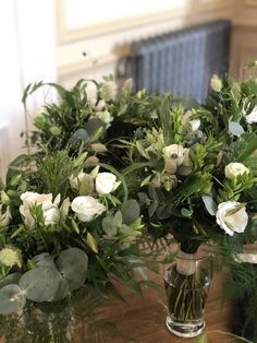 Natural mixed foliage and grasses posies with lisianthus Grasses, Wedding Bouquets, Natural, Flowers, Plants, Lawn, Wedding Brooch Bouquets, Bridal Bouquets, Grass