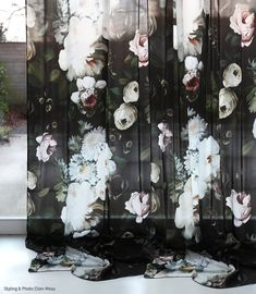 Ellie Cashman Dark Floral Curtains on silk charmeuse. Photo & Styling by Ellen Mesu. French Curtains, Gold Curtains, Drop Cloth Curtains, Burlap Curtains, Floral Curtains, Velvet Curtains, Hanging Curtains, Floral Fabric, Floral Prints