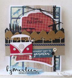 byMarleen: Marianne Design blog - Bloghop!! Volkswagen Bus, Combi Ww, Marianne Design Cards, Nautical Cards, Anna Griffin Cards, Tropical Art, Birthday Cards For Men, Scrapbook Embellishments, Masculine Cards