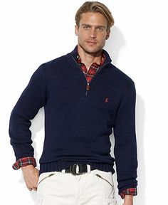Polo Ralph Lauren Sweater, Half-Zip Mock Neck High-Twist Cotton Pullover,  grey or dark blue