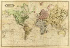World Map published by the Scottish engraver, printer and publisher Daniel Lizars in 1814.