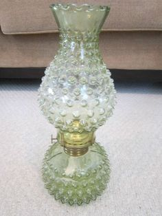 Rare Vintage Carnival Glass Oil Lamp Imperial Glass Hobmail Light Green
