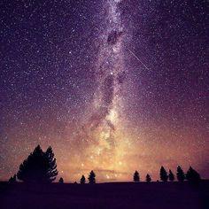 Shooting stars and Milky Way - Lake Tekapo in the South Island of New Zealand
