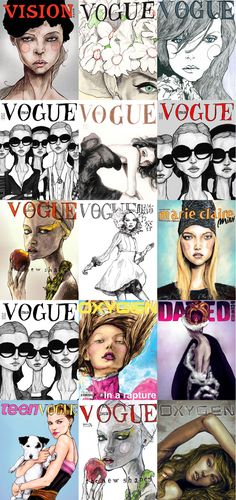 This is a collection Danny Roberts Painted illustrated Fashion vogue magazine covers