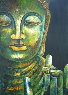 """""""When we let go of our battles and open our hearts to things as they are, then we come to rest in the present moment. This is the beginning and the end of spiritual practice."""" ~ Jack Kornfield Buddha in Karana Mudra Original Acrylic Painting by SLArtShop Buddha Artwork, Buddha Wall Art, Buddha Painting, Buddha Face, Buddha Zen, Zen Art, Buddhist Art, Oeuvre D'art, Art Drawings"""