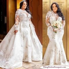Plus Size Wedding Dress Detachable Jewel Lace African Bridal Gowns True Style Never Dies Sheer Wedding Dress, Plus Size Wedding Gowns, African Wedding Dress, Lace Mermaid Wedding Dress, Sexy Wedding Dresses, Mermaid Dresses, Bridal Dresses, Lace Wedding, Gown Wedding