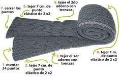 Cómo tejer una bufanda con trenzas reversibles entrelazadas para caballeros Crochet Baby, Scarves, Wraps, Knitting, Ideas, Fashion, Manish, Models, Braided Scarf