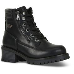 Lugz Flirt Hi Zip Women's Moto Boots ($75) ❤ liked on Polyvore featuring shoes, boots, black, black engineer boots, shearling-lined boots, zipper motorcycle boots, black motorcycle boots and biker boots