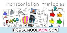 Transportation preschool printables