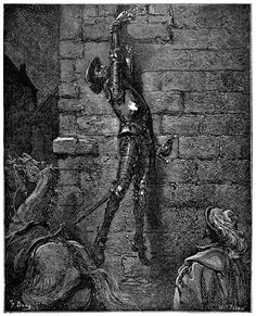 He would have come to the ground, but for being suspended by the arm    Gustave Doré, from El ingenioso hidalgo Don Quijote de la Mancha (The ingenious gentleman Don Quixote of la Mancha) vol. 1, by Miguel de Cervantes, Barcelona, 1892.    (Source: archive.org)