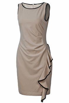 Khaki Sleeveless Contrast Trims Ruffles Dress
