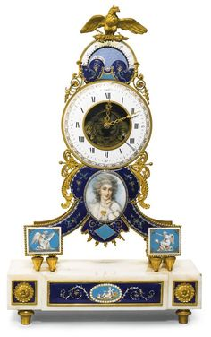 A Louis XVI enamel mounted gilt-bronze and marble mantel clock, circa 1780 | Lot | Sotheby's
