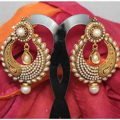 Photo: BOOK AT: http://www.mirraw.com/designers/panjarat-jewellery/designs/antiqueearringno173a-danglers-drop--2   Product ID: 208098   INR 1040 / USD 18.57 / MYR 59.09   Queries: help@mirraw.com / +91-8080781780