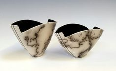 Two horsehair and feather carbonization bowls thrown and altered by Christine Gittins www.christinegittins.com