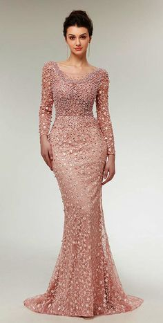 Stunning Lace Scoop Neckline Long Sleeves Mermaid Evening Dress With Beadings NEW! Stunning Lace Scoop Neckline Long Sleeves Mermaid Evening Dress Wit h Beadings Prom Party Dresses, Occasion Dresses, Homecoming Dresses, Bridal Dresses, Bridesmaid Dresses, Dress Prom, Trendy Dresses, Fashion Dresses, Formal Dresses