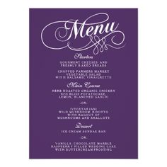 Purple Rehearsal Dinner Invitations Elegant Purple And White Wedding Menu Templates Card