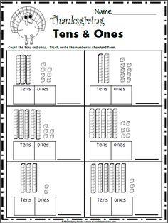 Free November Math Worksheets for Kindergarten - Base 10 Blocks - Made By Teachers