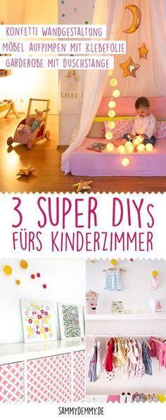 DIY-Tipps fürs die Gestaltung im Kinderzimmer: Wandgestaltung im Konfetti-Look selber machen. Ikea-Hack: Kallax mit Möbelfolie bekleben. DIY-Garderobe mit Schuhregal für Kinder selber machen.