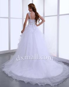 A-line Wedding Dresses Square Chapel Train Organza Satin White 010010100615