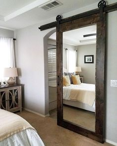 More, Inc. on This is our Knotty Alder Mirror Barn Door with our Traditional Hardware for a master bedroom/bathroom Bedroom Barn Door, Barn Door Closet, Master Bedroom Bathroom, Modern Bedroom, Barn Door For Bathroom, Farm Bedroom, Small Master Bedroom, Interior Barn Doors, Bedroom Furniture