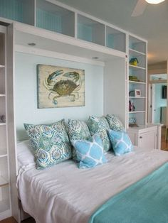 The bookshelves create a nook like feel and the built in lighting is a bonus.