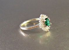 Sterling Halo Engagement Ring Emerald Quartz Diamond CZ Size  Show some love and RePin!