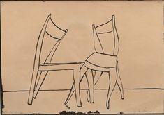 Andrzej Wróblewski - Flirtujące krzesła. Contour Line, Sketch Design, Sketches, Drawings, Poland, Armchair, Pictures, Paintings, Culture