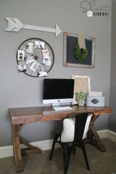 DIY desk for $70! FREE plans and tutorial at Shanty-2-Chic.com