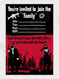 Mobster Invitations Adult Party Invites Birthday Invitations for Men Costume Party Gangster Party Themed Birthday Printable Invite Gangster Party, Gangster Wedding, Mafia Party, Prohibition Party, Speakeasy Party, Custom Party Invitations, Birthday Party Invitations, Gangsters, Adult Party Themes