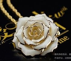 Amazon.com: ZJchao 30mm Golden Necklace Chain with 24k Gold Dipped Real Cream Rose Pendant: Clothing