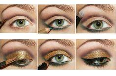 maquillaje de ojos dorado