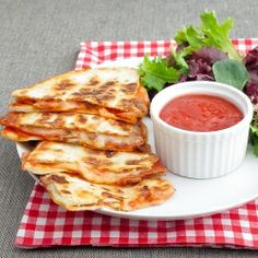 Pepperoni pizza quesadilla with dipping sauce