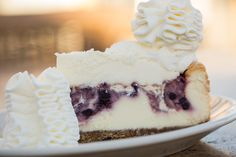 A delicious combination of white chocolate and blueberries- Wild Blueberry White Chocolate Cheesecake™