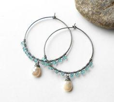 Gemstone Hoop Earrings Oxidized Sterling Silver Hoops