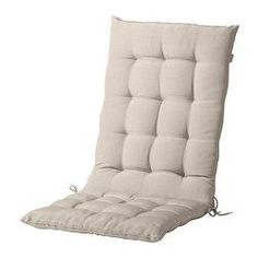 IKEA - HÅLLÖ, Seat/back pad, outdoor, beige, , Ties and a strap keep the seat/back cushion firmly in place on the chair.The seat/back cushion has a longer life, since it can be turned over and used on both sides.
