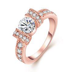 18-Karat Rose Gold-Plated Italian-Cut Eternity Ring Swarovski Elements
