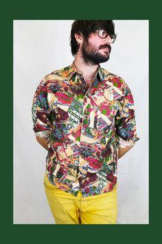 Camisa Vintage estampada 80's. Tejido: algodón . Marca Verte Vallee. Hecha en Francia. Talla M-L. 1 bolsillo delantero.