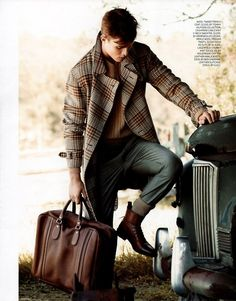 brown plaid topper, camel sweater, jeans, boots, the perfect weekender bag.