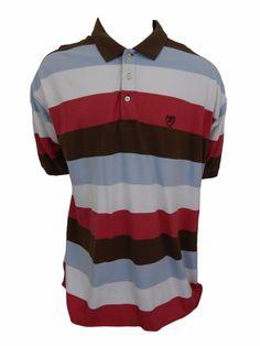 IZOD Polo Shirt Size 3XLT Short Sleeve Cotton Striped #IZOD #PoloRugby