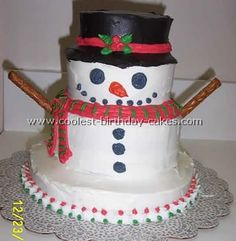 Very Cool Snowman Cake... This website is the Pinterest of Christmas cakes