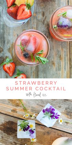 Strawberry Rosemary Healthy Summer Cocktail 🍓🍹🌸 with floral ice cubes! 1 cup fresh strawberries 1/2 cup soda water 1 tsp honey 🍯 1 lemon juiced  3 oz Gin or Champagne 2-3 sprigs of fresh rosemary for garnish... enjoy!!!! 💗