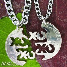 XO Friendship Necklaces Best friends friendship by NameCoins, $34.99