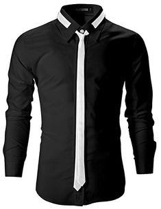 FLATSEVEN Mens Slim Fit Dress Shirts with Tie (SH107) Bla…